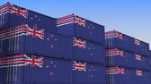 nieuw zeeland : Container yard full of containers with flag of New Zealand. Export or import related loopable 3D animation
