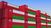 eksport : Container yard full of containers with flag of Oman. Omani export or import related loopable 3D animation