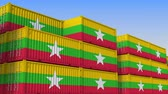 eksport : Container yard full of containers with flag of Myanmar. Myanma export or import related loopable 3D animation