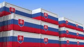 eksport : Container yard full of containers with flag of Slovakia. Slovak export or import related loopable 3D animation