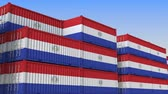 eksport : Container yard full of containers with flag of Paraguay. Paraguayan export or import related loopable 3D animation Wideo