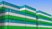 eksport : Container yard full of containers with flag of Uzbekistan. Uzbek export or import related loopable 3D animation