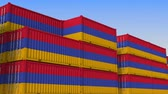 eksport : Container yard full of containers with flag of Armenia. Armenian export or import related loopable 3D animation