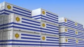 uruguai : Container yard full of containers with flag of Uruguay. Uruguayan export or import related loopable 3D animation