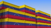 eksport : Container yard full of containers with flag of Venezuela. Venezuelan export or import related loopable 3D animation