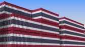tajlandia : Container yard full of containers with flag of Thailand. Thai export or import related loopable 3D animation