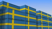 eksport : Container yard full of containers with flag of Sweden. Swedish export or import related loopable 3D animation