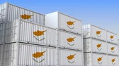 cypriot : Container yard full of containers with flag of Cyprus. Cypriot export or import related loopable 3D animation