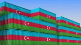 eksport : Container yard full of containers with flag of Azerbaijan. Azerbaijani export or import related loopable 3D animation
