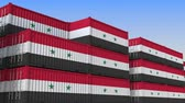 eksport : Container terminal full of containers with flag of Syria. Syrian export or import related loopable 3D animation