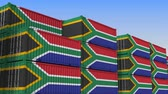 eksport : Container yard full of containers with flag of South Africa. Export or import related loopable 3D animation Wideo