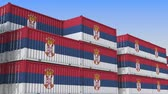 eksport : Container yard full of containers with flag of Serbia. Serbian export or import related loopable 3D animation