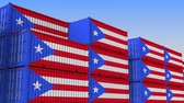 eksport : Container yard full of containers with flag of Puerto Rico. Export or import related loopable 3D animation Wideo
