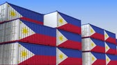 eksport : Container yard full of containers with flag of Philippines. Export or import related loopable 3D animation