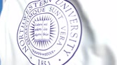 記章 : Waving flag with Northwestern University emblem, close-up. Editorial loopable 3D animation