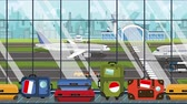 voyage affaire : Luggage with Indonesian flag stickers on baggage carousel in airport. Tourism in Indonesia conceptual loopable cartoon animation Vidéos Libres De Droits