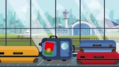 istek : Baggage with Portuguese flag stickers on carousel in airport, close-up. Tourism in Portugal related loopable cartoon animation
