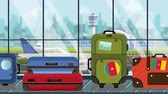 yatılı : Suitcases with Cameroonian flag stickers on baggage carousel in airport, close-up. Travel to Cameroon related loopable cartoon animation