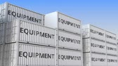 eksport : Container yard full of containers with equipment. Production, export or import related loopable 3D animation