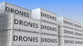 eksport : Container terminal full of containers with drones. Production, export or import related loopable 3D animation