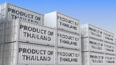 manuseio : Containers with PRODUCT OF THAILAND text in a container terminal, loopable 3D animation