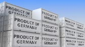 manuseio : Containers with PRODUCT OF GERMANY text. German import or export related loopable 3D animation Vídeos
