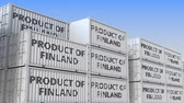 forwarder : Containers with PRODUCT OF FINLAND text in a container terminal, loopable 3D animation
