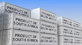 アフリカの : Containers with PRODUCT OF SOUTH AFRICA text. Import or export related loopable 3D animation