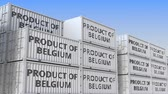 belga : Cargo containers with PRODUCT OF BELGIUM text. Belgian import or export related loopable 3D animation