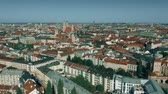 sloping : Aerial establishing shot of the city of Munich, Germany Stock Footage