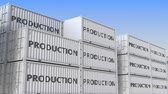 forwarder : Containers with PRODUCTION text. Loopable 3D animation Stock Footage