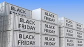 goede vrijdag : Containers with BLACK FRIDAY text, loopable 3D animation