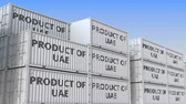 упаковка : Containers with PRODUCT OF UAE text in a container terminal, loopable 3D animation Стоковые видеозаписи