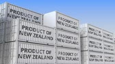 forwarder : Cargo containers with PRODUCT OF NEW ZEALAND text. Import or export related loopable 3D animation Stock Footage
