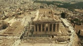 atina : Aerial view of the Parthenon temple restoration and Acropolis in Athens, Greece
