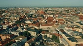 sloping : Aerial establishing shot of Munich, the capital of Bavaria. Germany Stock Footage