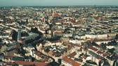 sloping : Munich, the capital and most populous city of Bavaria in Germany. Aerial establishing shot
