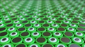 rendelés : Many green lithium-ion batteries. Loopable 3D animation Stock mozgókép