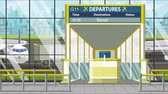 портал : Airport gate. Departure board with Barcelona text. Travel to Spain related loopable cartoon animation Стоковые видеозаписи