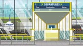 портал : Airport terminal. Departure board above the gate with Berlin text. Travel to Germany loopable cartoon animation