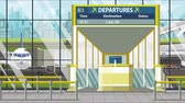 портал : Airport gate. Departure board with Las Vegas text. Travel to the United States related loopable cartoon animation
