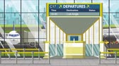 портал : Departure board in the airport terminal with Los Angeles caption. Travel to the United States loopable cartoon animation Стоковые видеозаписи