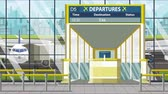 портал : Airport departure board with Essen caption. Travel in Germany related loopable cartoon animation