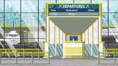 портал : Flight to Bogota on airport departure board. Trip to Colombia loopable cartoon animation