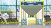 портал : Airport terminal. Departure board above the gate with Alexandria text. Travel to Egypt loopable cartoon animation Стоковые видеозаписи