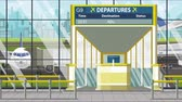 портал : Airport gate. Departure board with Abuja text. Travel to Nigeria related loopable cartoon animation