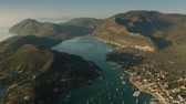 watercraft : High altitude aerial view of the Lefkada Island in the Ionian Sea. Greece Stock Footage
