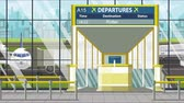 bilhete : Airport gate. Departure board with Rotterdam text. Travel to Netherlands related loopable cartoon animation