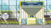 портал : Departure board in the airport terminal with Monterrey caption. Travel to Mexico loopable cartoon animation