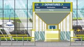 yangon : Airport terminal. Departure board above the gate with Yangon text. Travel to Myanmar loopable cartoon animation